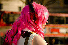 Listening_ headphones & pink hair